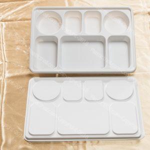 Silver 9 Compartment Plate - PlasticThali.com - Free shipping ...