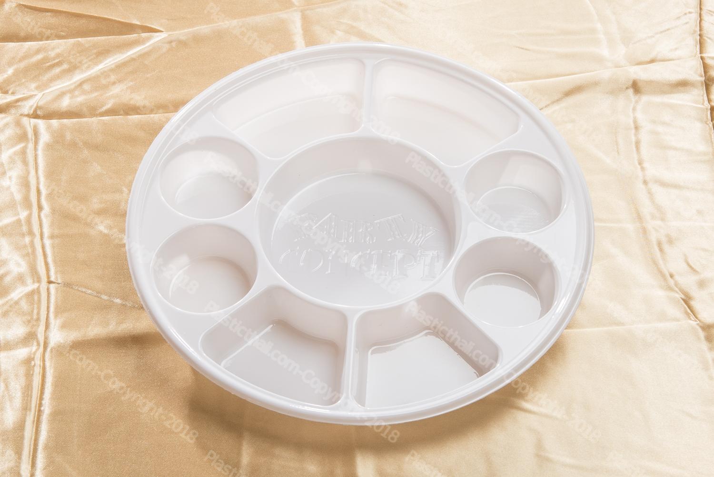 White 9 Compartment Plate - PlasticThali.com - Free shipping, Virgin ...